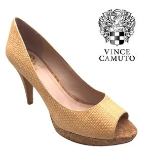 Vince Camuto light tan heels wedge shoes  7.5 M
